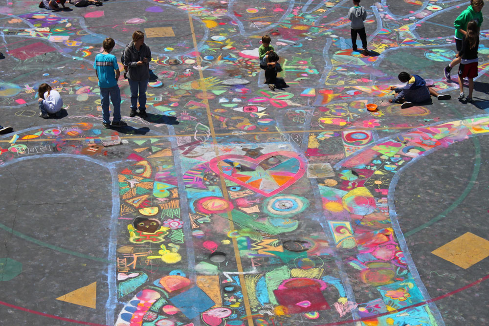 NEA Community Learning Center Drawing On Earth Chalk